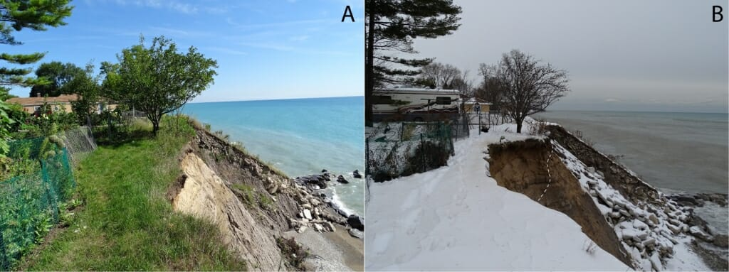 Photo: Photo of bank of Lake Michigan, before and after it was firmed up.