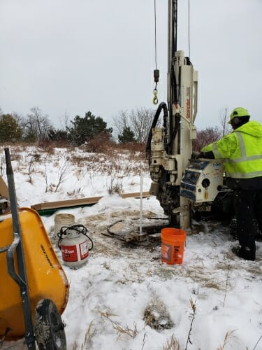 Photo: A drill used to create a groundwater monitoring well.