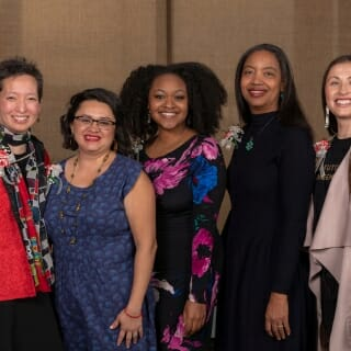 The winners of the 2019 Outstanding Women of Color Awards are, from left, Jennifer Young Choe Edgoose, Mariela Quesada Centeno, Bianca Baldridge, Cherene Sherrard-Johnson and Melissa Metoxen.