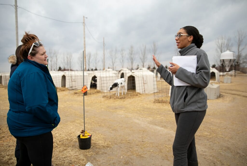 Photo: Rekia talking with a woman in front of calve enclosures