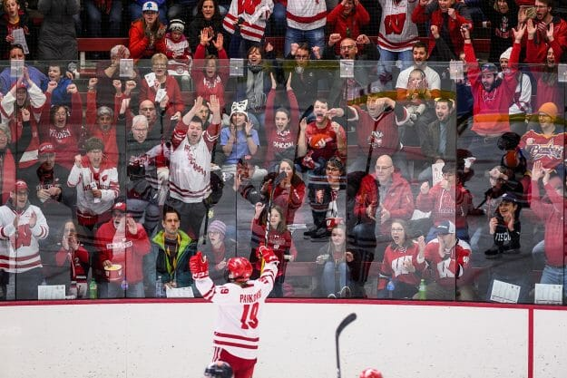 A sea of red-and-white clad Badger fans cheer Pankowski (19) after her first goal.