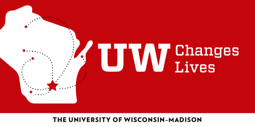 "Graphic: Map of Wisconsin and the words ""UW Changes Lives"""