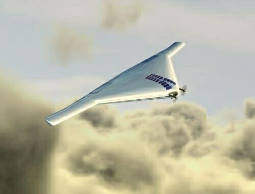 Image: Artist's rendering of drone flying above clouds