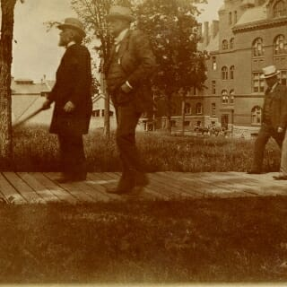Some of the underground utilities date back to before UW President Charles Kendall Adams, left, walked up Bascom Hill with Breese J. Stevens, a former mayor of Madison and member of the Board of Regents, in 1900.