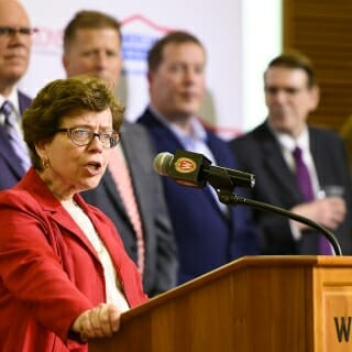 """Creating the American Family Insurance Data Science Institute will bring faculty together from across campus to collaborate on cutting-edge research, spark new opportunities for our students, and give us new ways to work with industry partners,"" said Chancellor Rebecca Blank."
