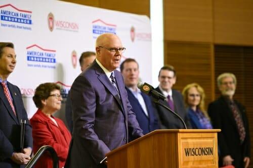 Photo: Salzwedel speaking at podium