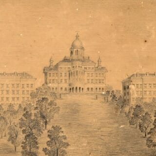 A sketch of the domed Main Hall, as Bascom Hall was called at the time, and South (left) and North Halls, was created by UW engineering student William A. Truesdell, an 1867 graduate.