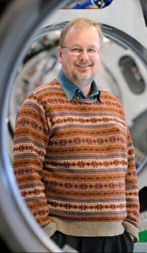 Photo: Mackie seen through tomotherapy machine