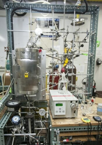 Photo of a biofuel flower reactor
