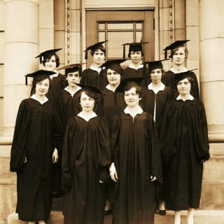 The first students were admitted into the program in 1924, and the first class of 11 nurses graduated in 1927 with certificates. They are shown here.