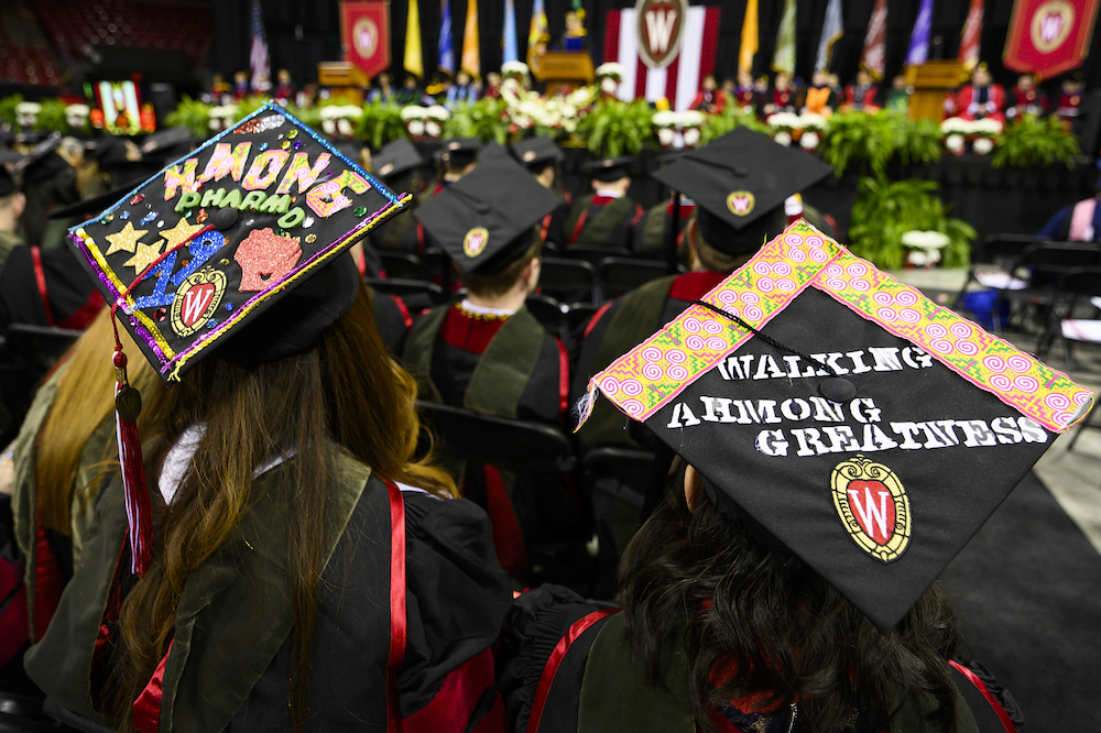 Photo of mortarboards reading