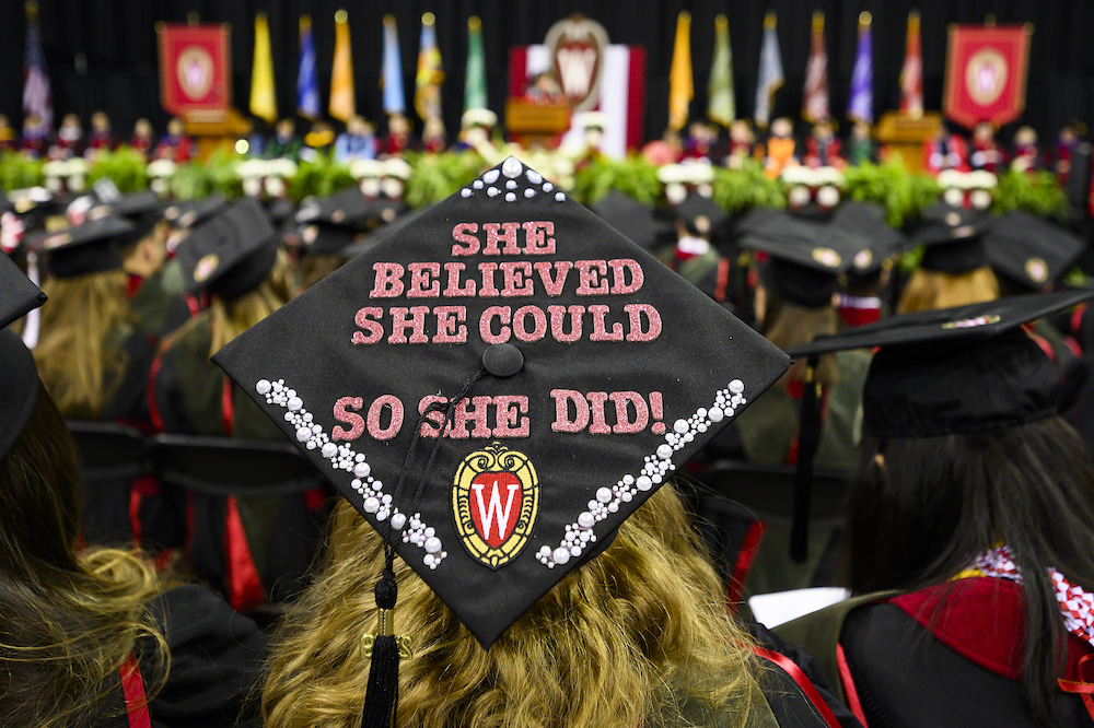 Photo of a mortarboard reading,