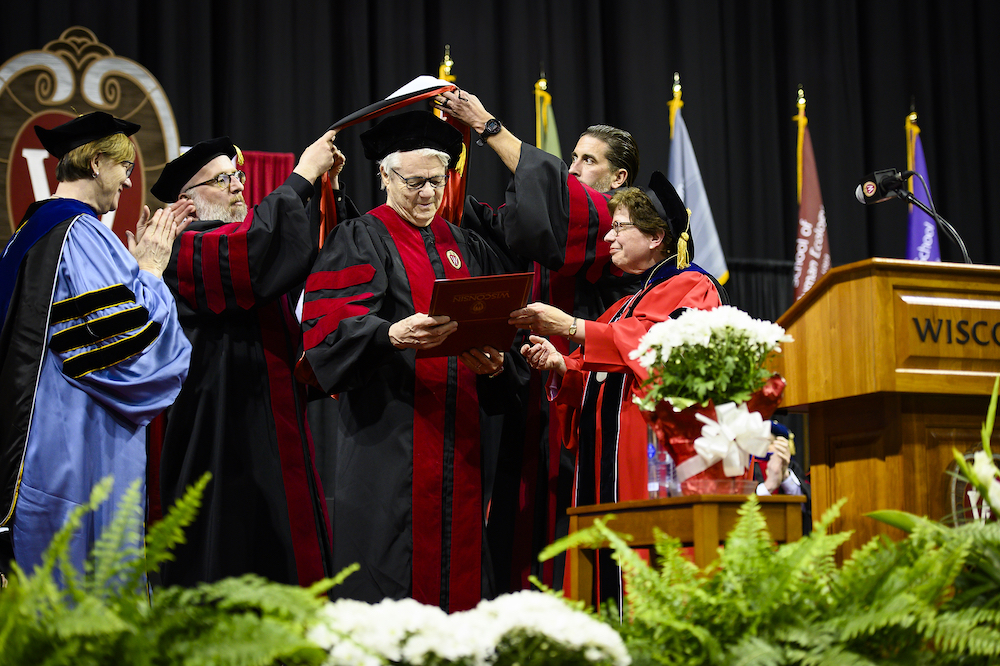 Photo of Steve Miller receiving his honorary degree.