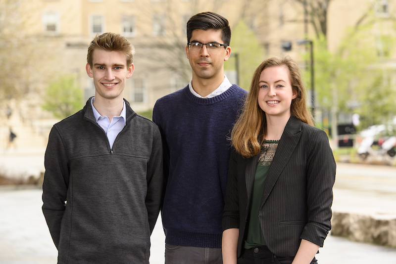 Photo of the three recipients standing outside the Wisconsin Institutes for Discovery