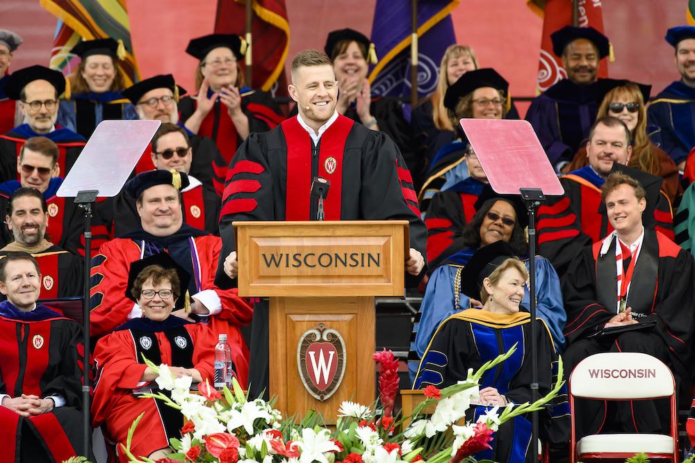 Photo of J.J. Watt speaking at the podium.