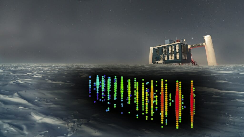 Illustration: The IceCube facility is shown on the ice, with illustrations of a neutrino-detection event.