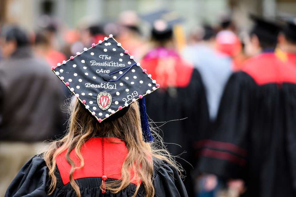 Photo of mortarboard reading