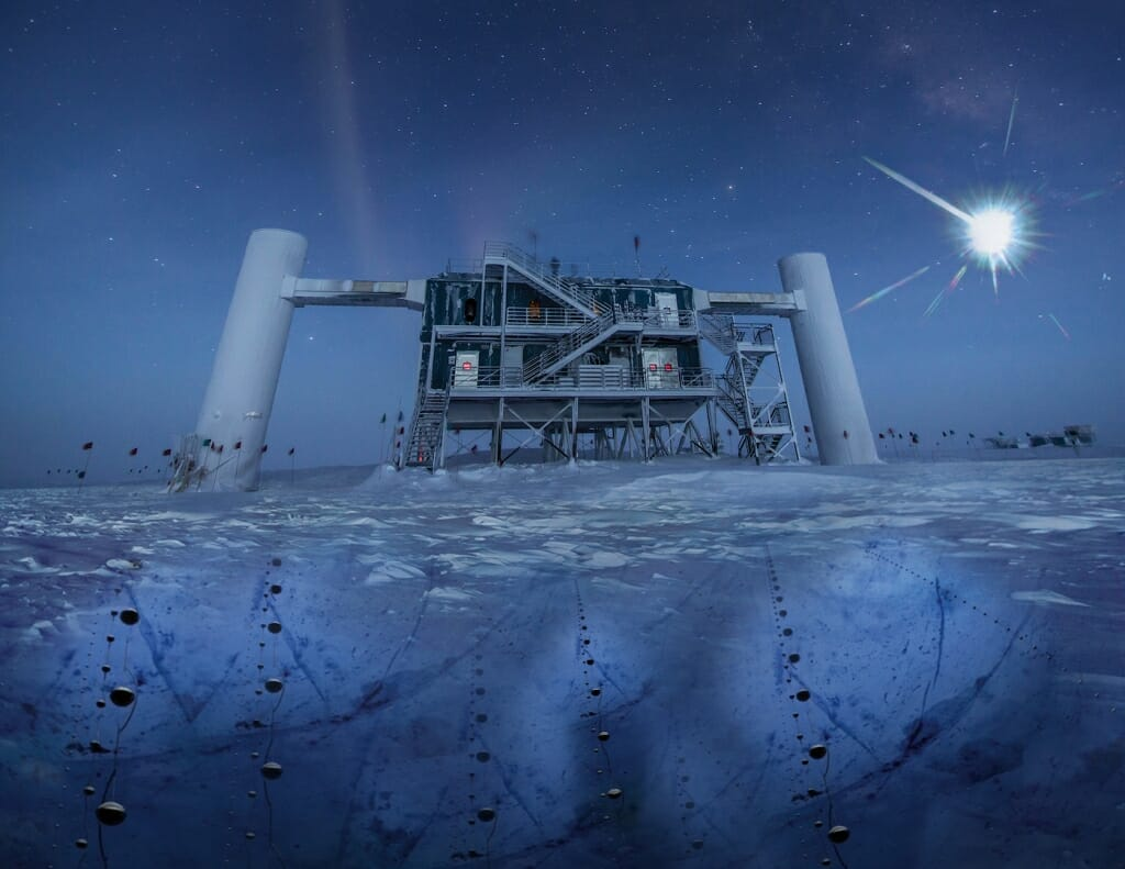 Illustration: A building stands on the ice in the dark of the Antarctic night.