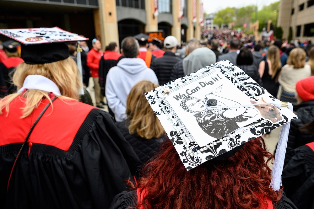 Photo of mortarboard with Rosie the Riveter labeled