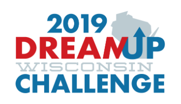 Logo reading 2019 DreamUp Wisconsin Challenge with a silhouette of the state of Wisconsin