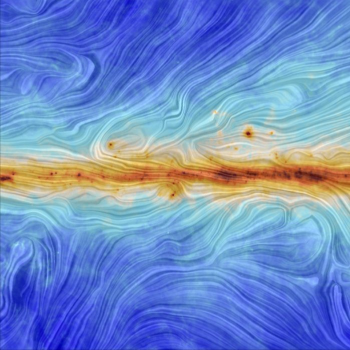 Image: Swirling blues and browns depicting magnetic field