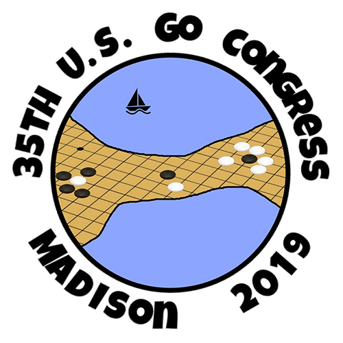 Conference logo featuring an illustration of the Madison isthmus as a Go board