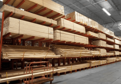 Photo of pallets of lumber.