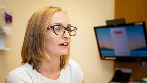 """Sarah Smith was trained at Monroe Clinic while earning her doctorate in nursing practice at the School of Nursing at UW-Madison. """"I liked the patient population,"""" she says. """"They are down-to-earth, good people who really listen to what you are saying."""""""