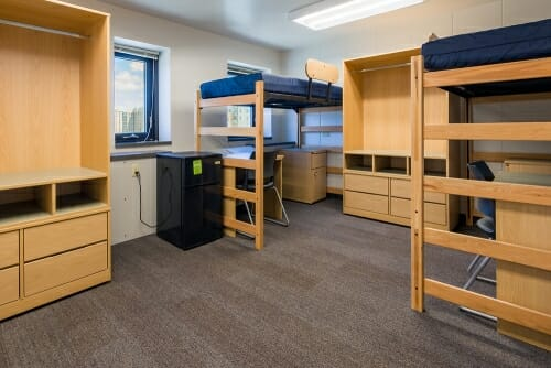 Photo: Inside a dorm room.
