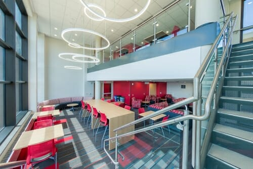 Photo: A two-story student lounge in Witte Hall.