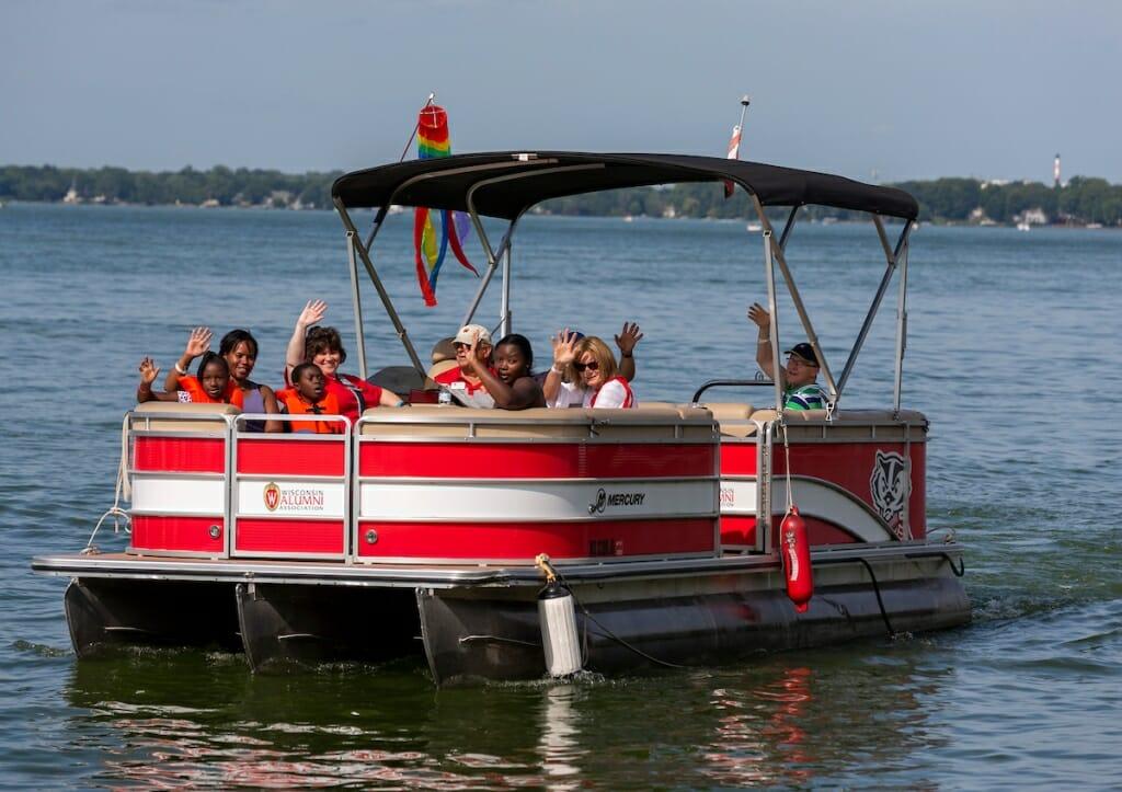 Photo: A pontoon boat in Lake Mendota.