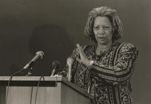 Photo: Toni Morrison at a podium.