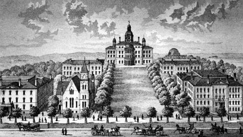 Illustration: Drawing of view from bottom of Bascom Hill with earlier version of Bascom Hall and the old Science Hall
