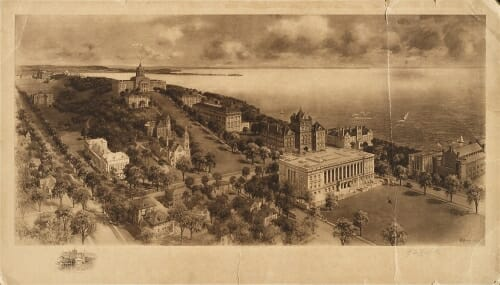 Illustration: Aerial view of Bascom Hill, Lake Mendota, and the State Historical Society