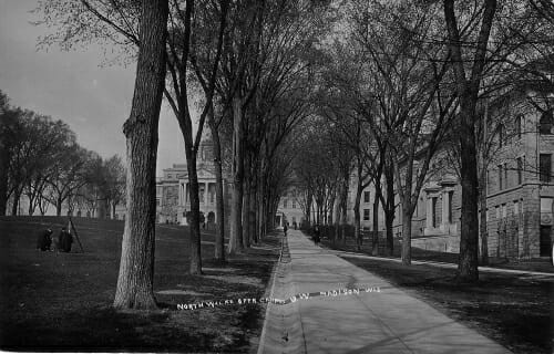 Photo: View looking up along North sidewalk past what is now the Education Building
