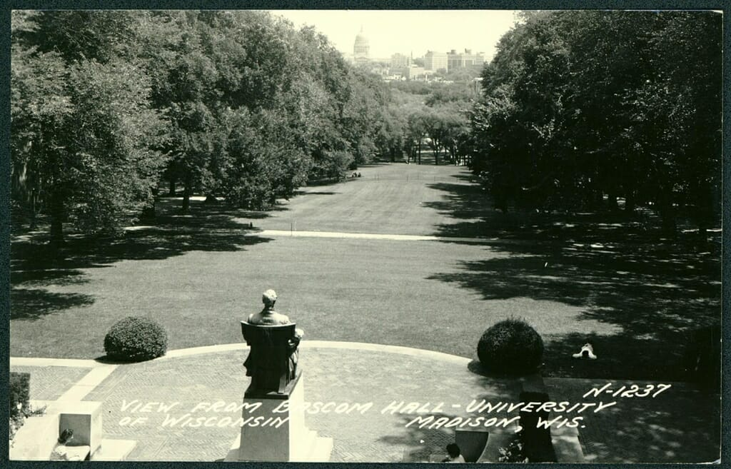 Photo: Bascom Hill looking down from Bascom Hall with Lincoln statue in foreground