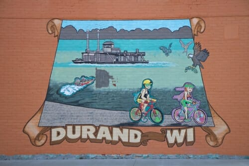 Photo: A mural showing the river in Durand.