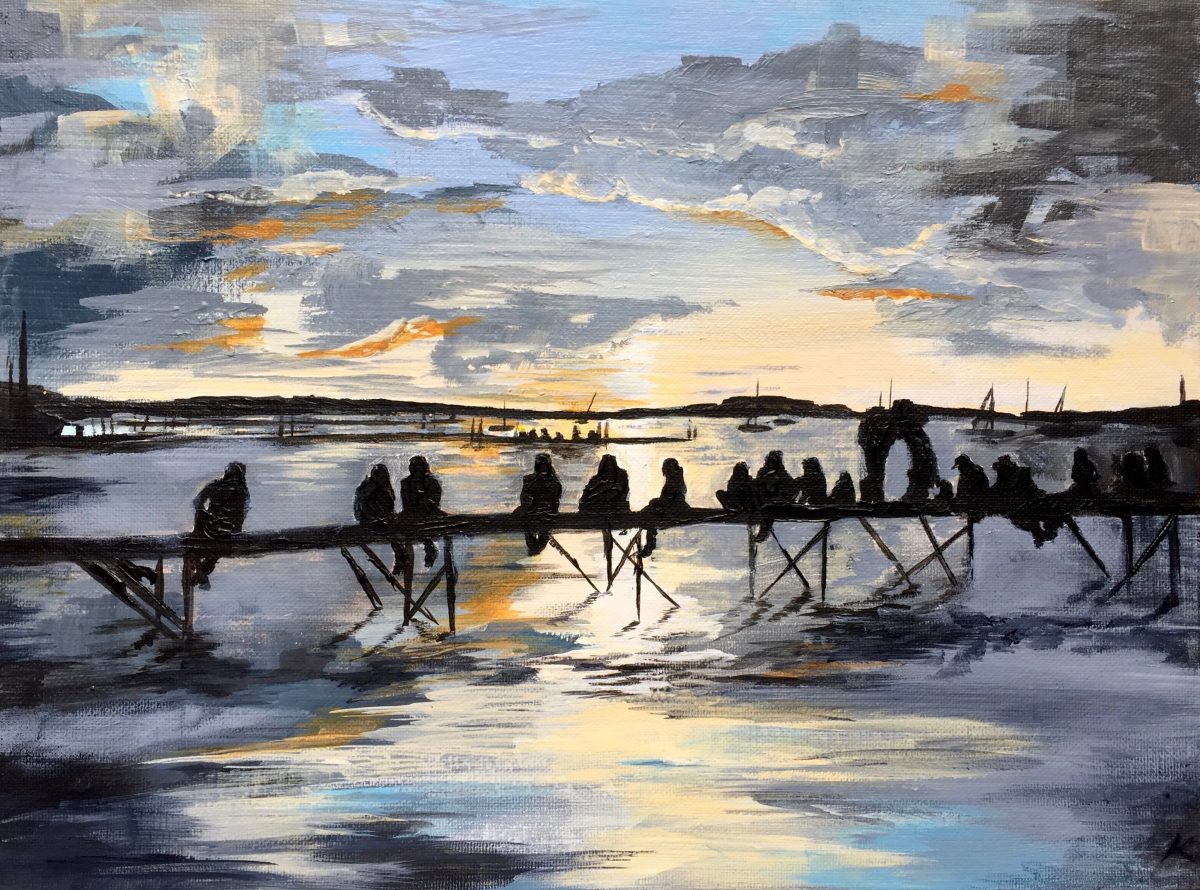 Painting: People sitting on pier at dusk