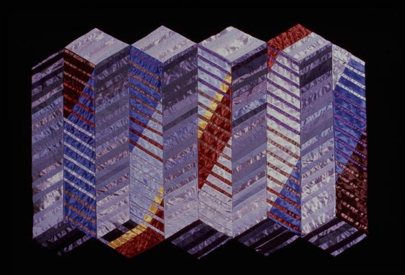 Painting: Abstract pattern of stacks of squares