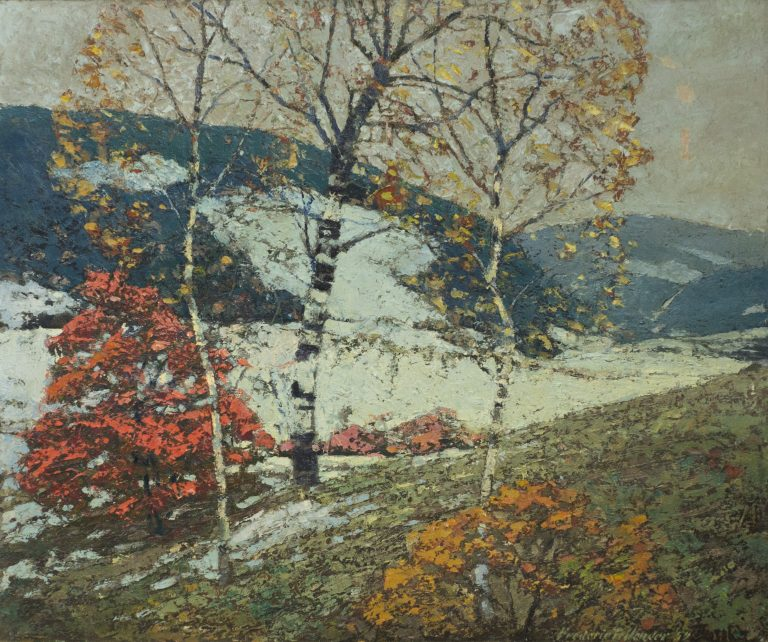 Painting: Landscape of trees in winter