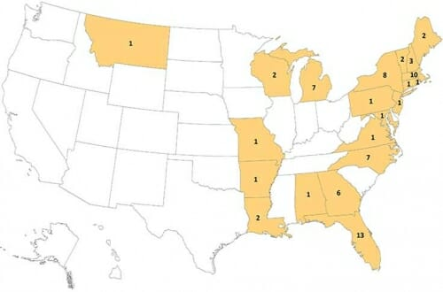 Photo: Map of states and number of cases in each