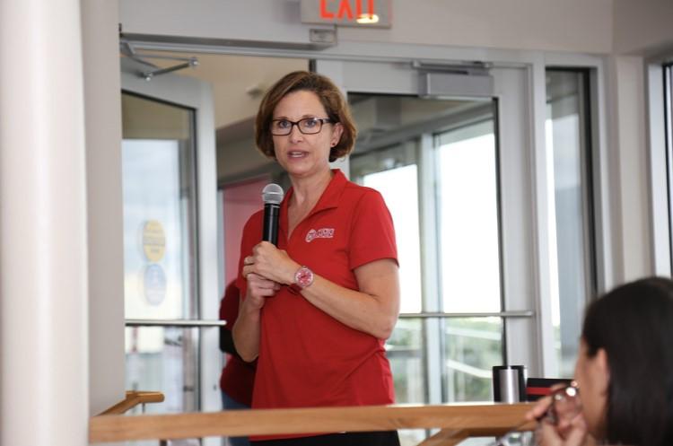 Photo of Schutt speaking