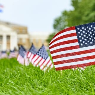 The flags were placed by students from the College Democrats, College Republicans and the student organization VETS.