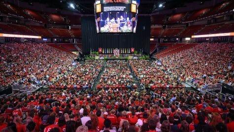 Photo: Crowd filling Kohl Center under scoreboard