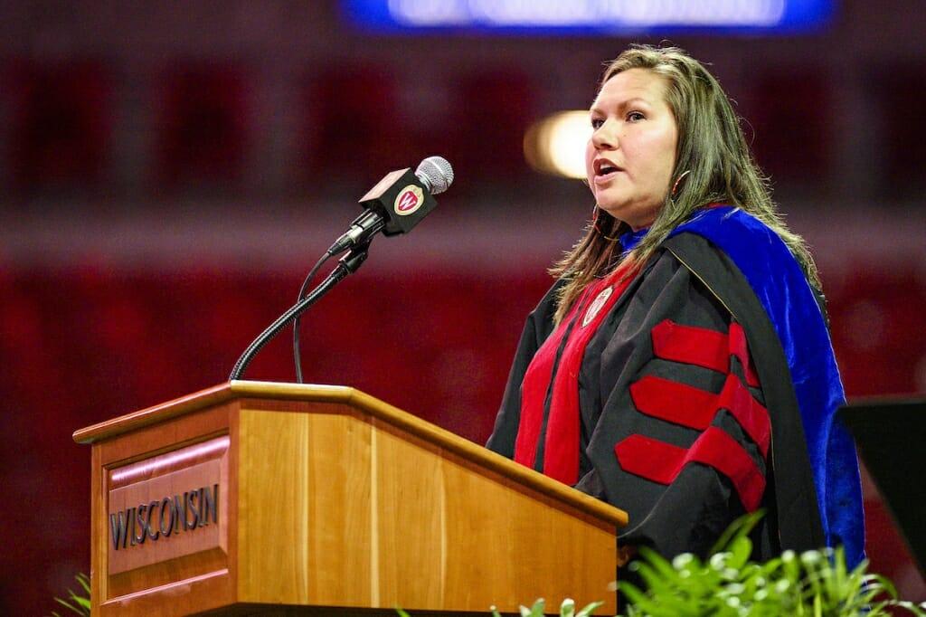 Photo: Keeler speaking at podium