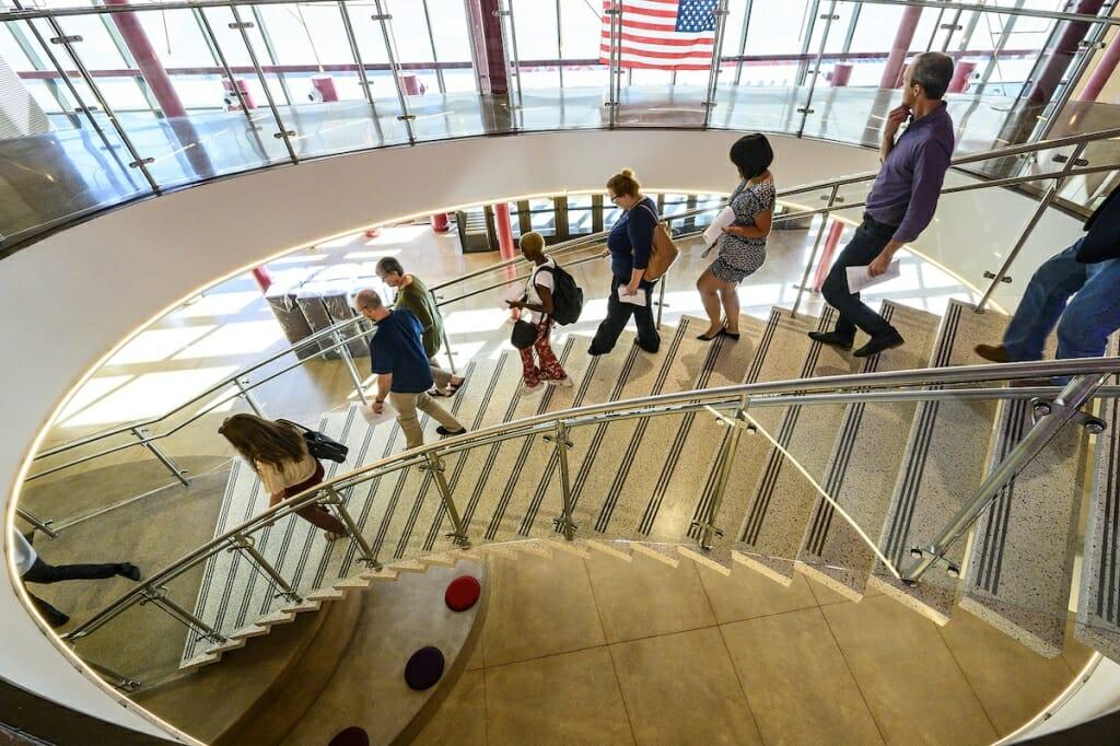 Photo: People walking down stairs