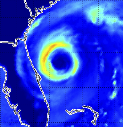 Photo: Satellite image of hurricane off the coast of Florida