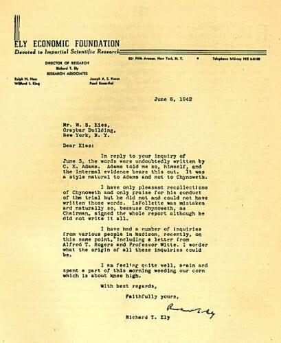 Photo: Letter from Ely to W.S. Kies
