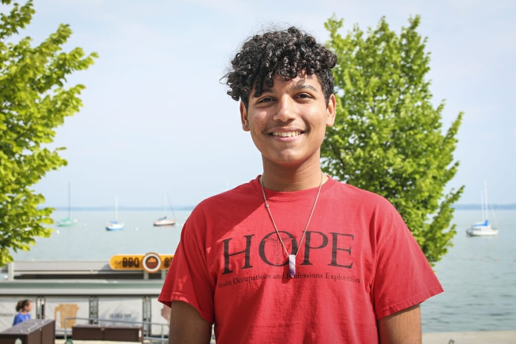 Photo: Yanci Almonte Vargas stands on the Memorial Union Terrace.