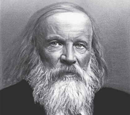Photo, perhaps a painting, of Mendeleev